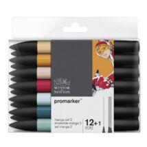 ProMarker Winsor&Newton 12 db-os MANGA filctoll készlet 2 + ajándék Blender
