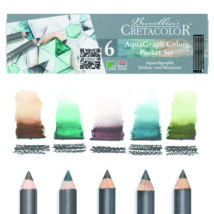 5 darab Cretacolor AquaGraph ceruza és annak doboza a vízzel történő festés után