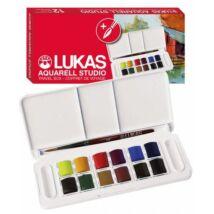Lukas Aquarell Studio utazókészlet 12 × 1/2 szilke, ajándék akvarell ecsettel