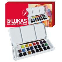 Lukas Aquarell Studio utazó készlet 24 × 1/2 szilke, ajándék akvarell ecsettel
