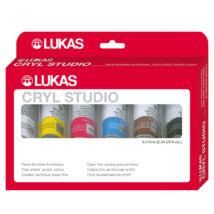Lukas Cryl Studio művész akrilfesték készlet dobozban 6 db 75 ml-es