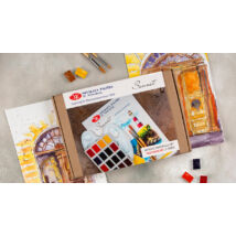 akvarell festőkészlet dobozban paletta ecsetek festőtömb akvarellfesték