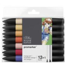 ProMarker Winsor&Newton 12 db-os MANGA filctoll készlet + ajándék Blender