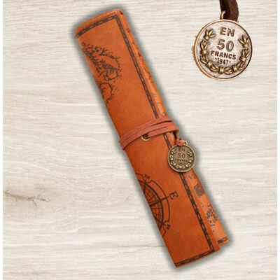 Nosztalgia feltekerhető ceruza/tolltartó rozsdabarna bőrhatású