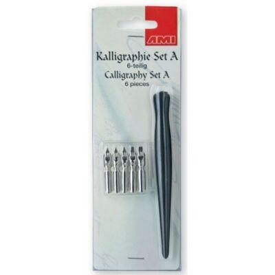 AMI kalligráf készlet A típusú, 6 darabos vágott végű tollheggyel