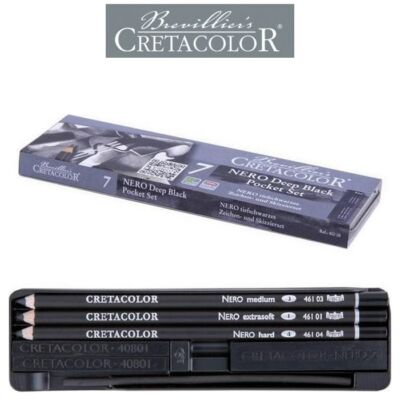 Cretacolor NERO Deep Black - 7 darabos grafikai válogatás fémdobozban