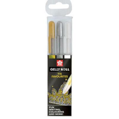 Sakura Gelly Roll zselés, Metallic készlet; fehér, arany, ezüst tollkészlet 3 db