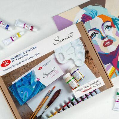 akril festőkészlet dobozban kasírozott vászon ecsetek akrilfesték fényes akril lakk paletta festőkéssel